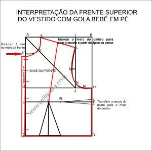 INTERPRETAÇÃO DA FRENTE SUPERIOR VESTIDO FUSTÃO