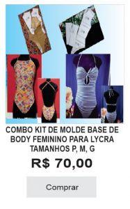 COMBO KIT DE MOLDE BASE DE BODY FEMININO PARA LYCRA TAM. P, M, G