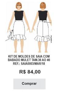 KIT DE MOLDES DE SAIA COM BABADO MULET TAM.36 AO 46 REF.: SAIA0003/MAR/18