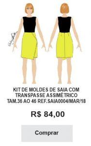 KIT DE MOLDES DE SAIA COM TRANSPASSE ASSIMÉTRICO TAM.36 AO 46 REF.SAIA0004/MAR/18