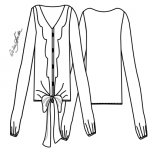 Kit de Molde de Blusa com Decote V e Jabô - Tecido Plano